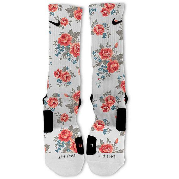 Floral White Customized Nike Elite Socks by FreshElites on Etsy