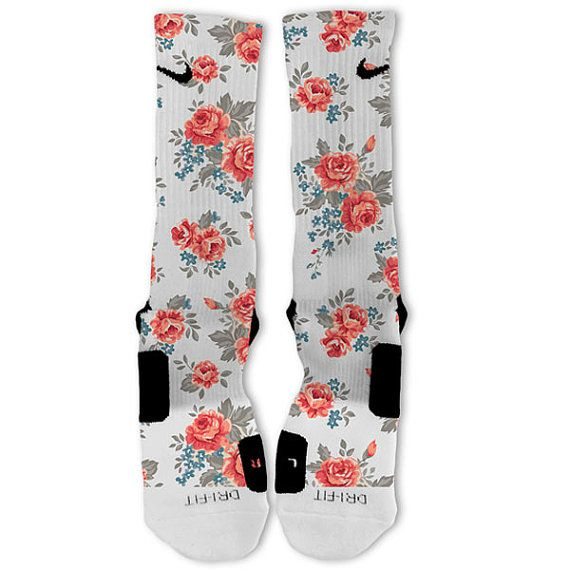 Floral White Customized Nike Elite Socks by FreshElites on Etsy