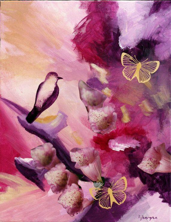 Abstract Nature Painting Mixed Media by FlourishArtandGifts, $140.00
