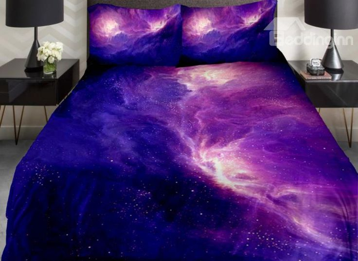 Amazing Dark Blue And Purple Galaxy Print 4 Piece Duvet