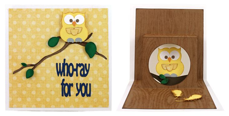 """Pop Up Card Owl, """"Who-ray for you."""" Eight pop-up cards with WPC, AI, and SVG cutting files for $5.95!"""