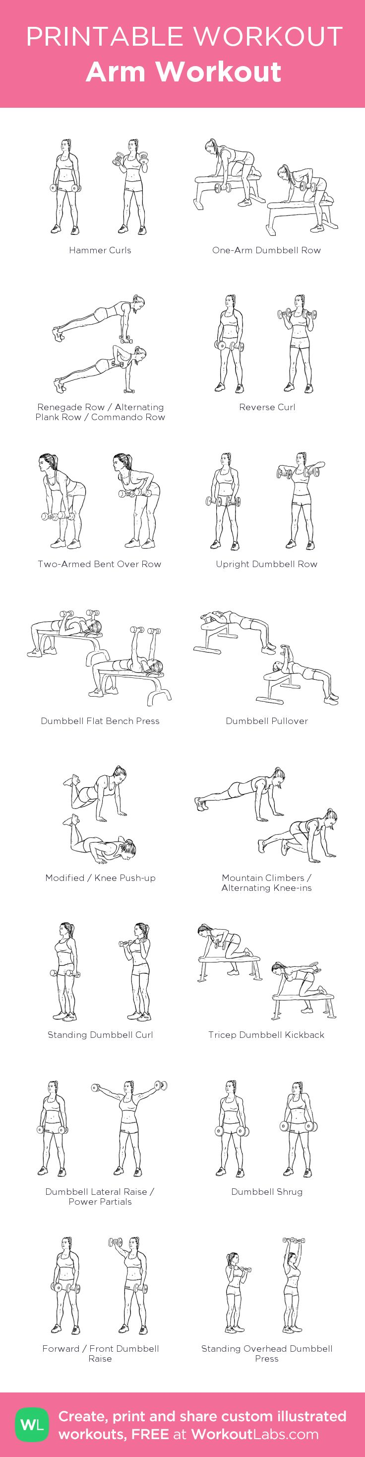 Arm Workout: my visual workout created at WorkoutLabs.com • Click through to customize and download as a FREE PDF! #customworkout