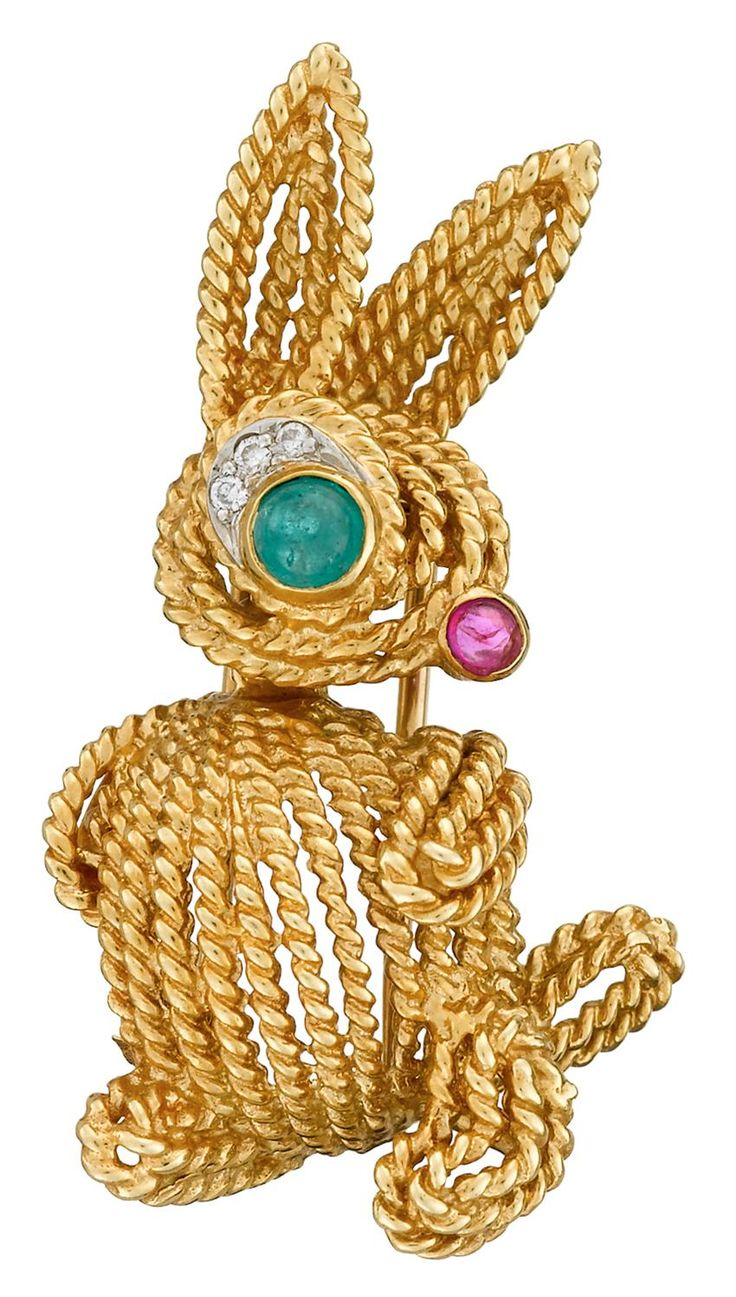 Van cleef amp arpels vca 18k yellow gold ruby cabochon amp diamond - An Emerald Ruby Diamond And Eighteen Karat Gold Pin Van Cleef Arpels
