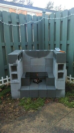 Our outdoor fireplace :) Built with cinder blocks and love ... on Diy Cinder Block Fireplace id=45052