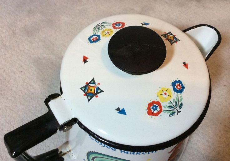 Berggren Enamelware Rooster Weather Vane 1965 Scandinavian Coffee Pot Kettle | eBay