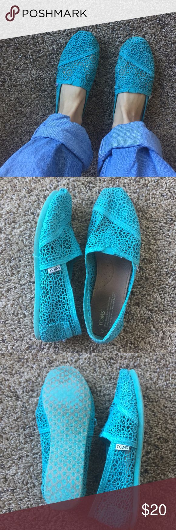 Teal crochet Toms! Teal crochet toms. Worn a bit but can't tell on the outside! Lining inside the crochet where your toes are. Size 8 TOMS Shoes Flats & Loafers