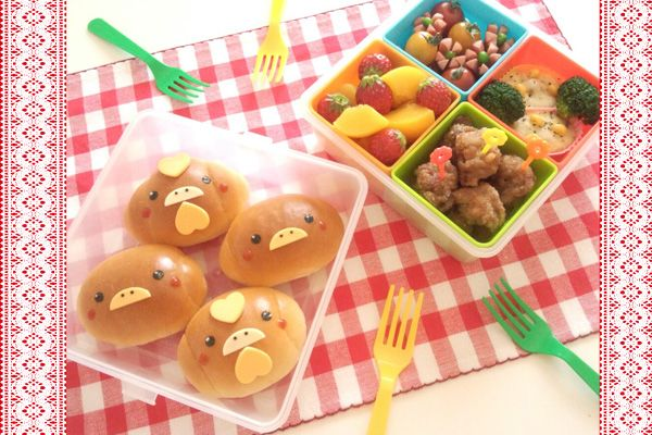Chicken and chick bread bento