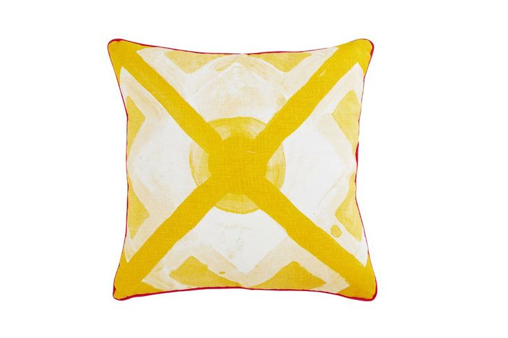 "Bonnie and Neil Cushion #C805 - LARGE DOT TILE - YELLOW 16"" X 16"""
