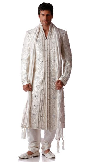 Awesome #Linen Sherwani for Desi Groom  ( source: 1browngirl via http://www.pinterest.com/linenclub/ )