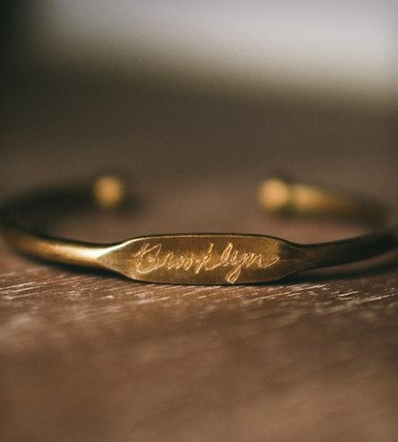 """Just ordered this. But it will be engraved with """"Queens"""". 'Hood Brass Bangle Bracelet"""