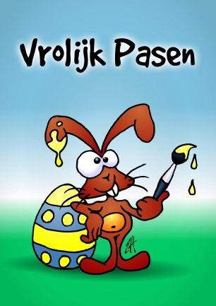 De Paashaas wenst je Vrolijk Pasen. #Sendasmile #Cardvibes #Tekenaartje #wenskaart #kaartje