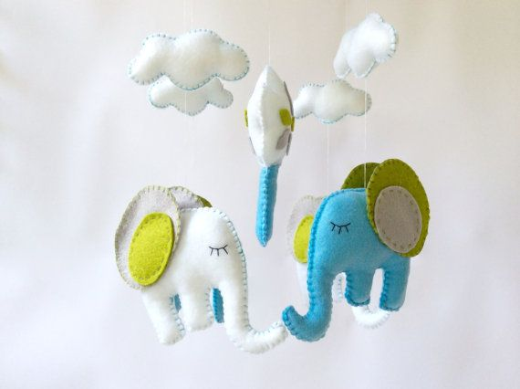 Elephant nursery mobile   Baby Crib Mobile Baby by LaPetiteMelina
