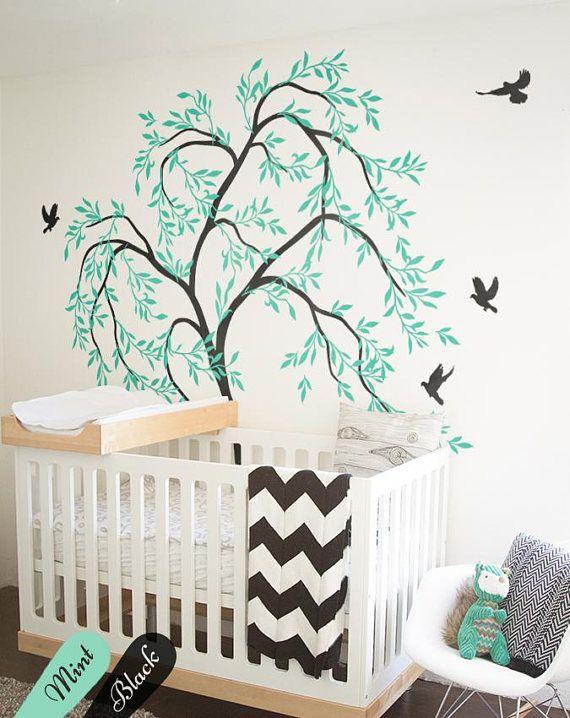 Chambre denfant arbre stickers muraux avec oiseaux mignons aussi connu comme mur de tatouage grand arbre avec des feuilles décoration chambre bébé
