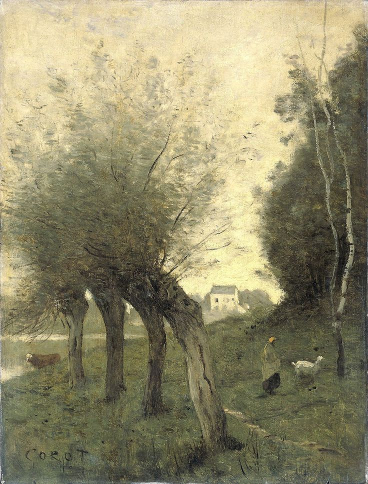☼ Painterly Landscape Escape ☼ landscape painting by Camille Corot (French, 1796–1875), Landscape with Willows