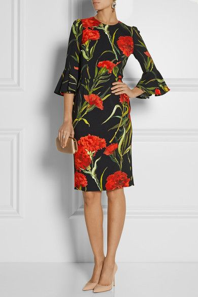 Black, red and green crepe Concealed hook and zip fastening at back 100% viscose; lining: 97% polyester, 3% elastane Dry clean