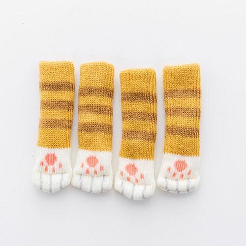4pcs Anti Slip Mat Cute Furniture Leg Feet Caps Felt Pads Cat Claw Chair Leg Socks Table Protector Prevent Dog Cat Scratching Cat Supplies
