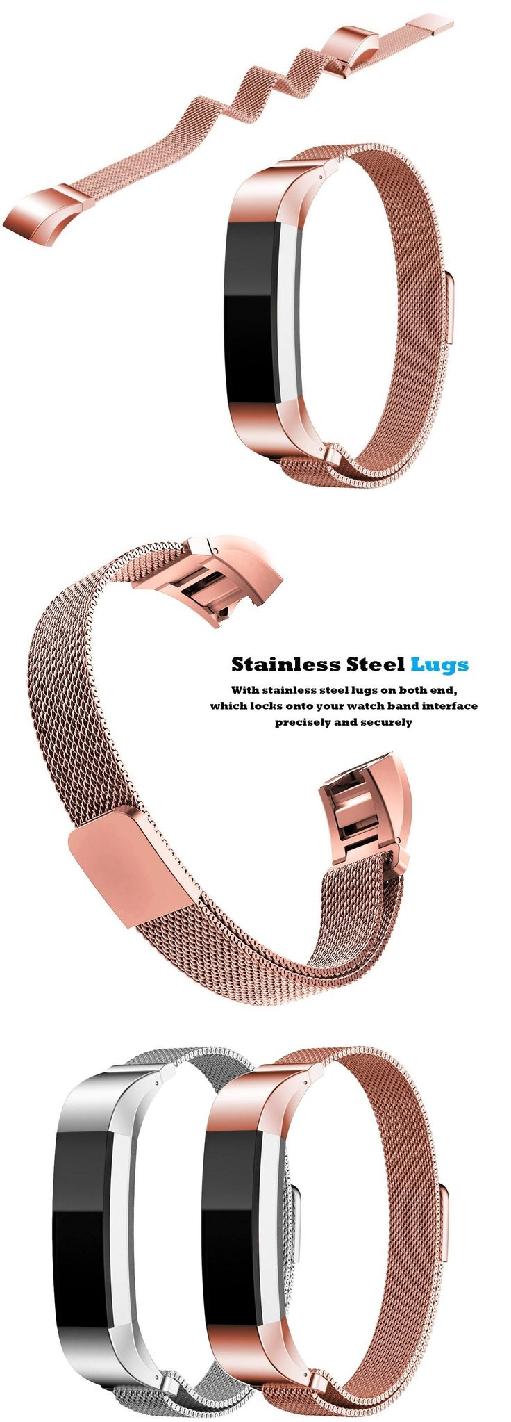 METAL BAND FOR FITBIT ALTA SILVER AND PINK GOLD BY HUMENN from Amazon