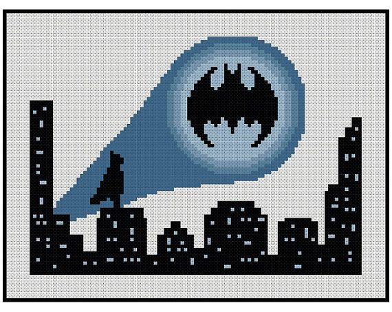 *Batman - Bat Signal Cityscape * Cross Stitch PDF Pattern Instant Download* The Bat Signal shines over the night cityscape whilst Batman watches on, taking some time to chill out before he leaps into action! This can be stitched over any fabric but as its a night scene it looks coolest
