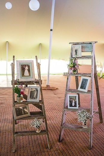 Love this 'family ladder' photo display. Pembrokeshire tipi wedding with Gwen and Trystan Llyr Griffiths wedding by Whole Picture Weddings – Whole Picture Weddings
