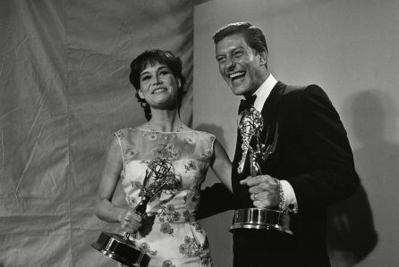 Dick Van Dyke and Mary Tyler Moore with their Lead Actor and Lead Actress comedy series wins for The Dick Van Dyke Show.