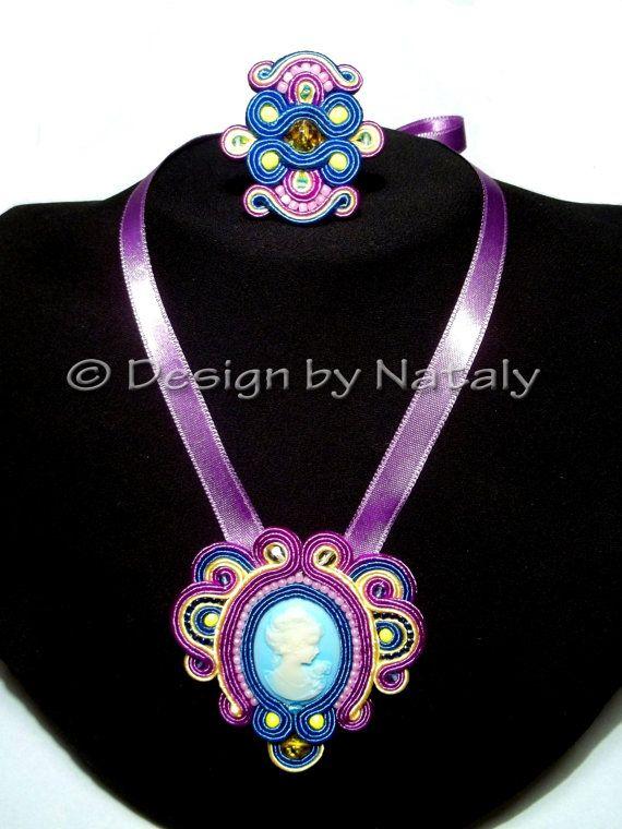 OOAK Soutache Necklace Pendant Ring Cameo by DesignByNataly, $47.00