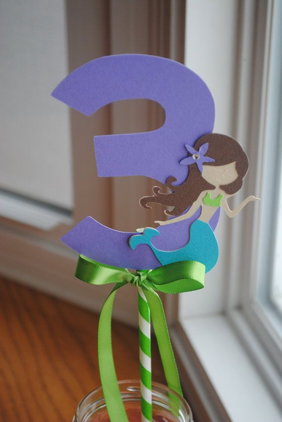 Mermaid Centerpiece with Age, Decorate both sides of number with tissue paper and use unicorn instead of mermaid