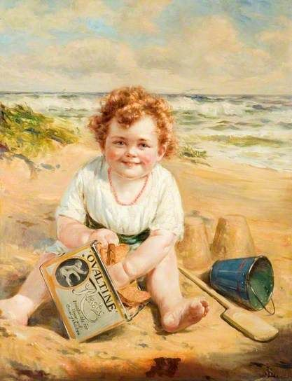 Child on a Sandy Shore with a Tin of Ovaltine Rusks
