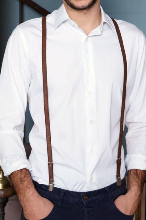 Accessories for the Stylish Groom - Skinny Leather Suspenders