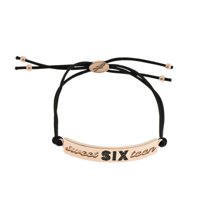 2016 Rose gold plated sterling silver bracelet with cubic zirgonia and a cord. Dimensions: 45 Χ 8 mm. Γούρι 2016 βραχιόλι σε ασήμι 925 επιχρυσωμένο ροζ με μαύρες πέτρες και κορδόνι. Διαστάσεις : 45 Χ 8 mm.