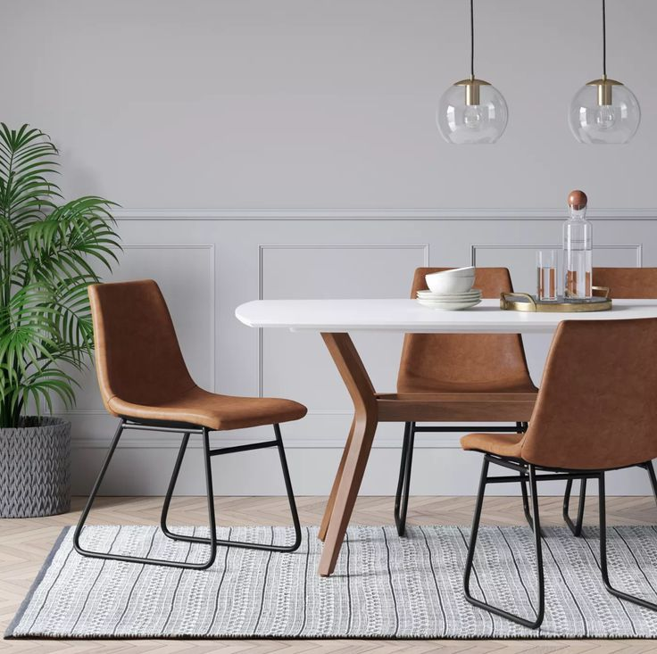 Bowden Faux Leather And Metal Dining Chair Caramel ...