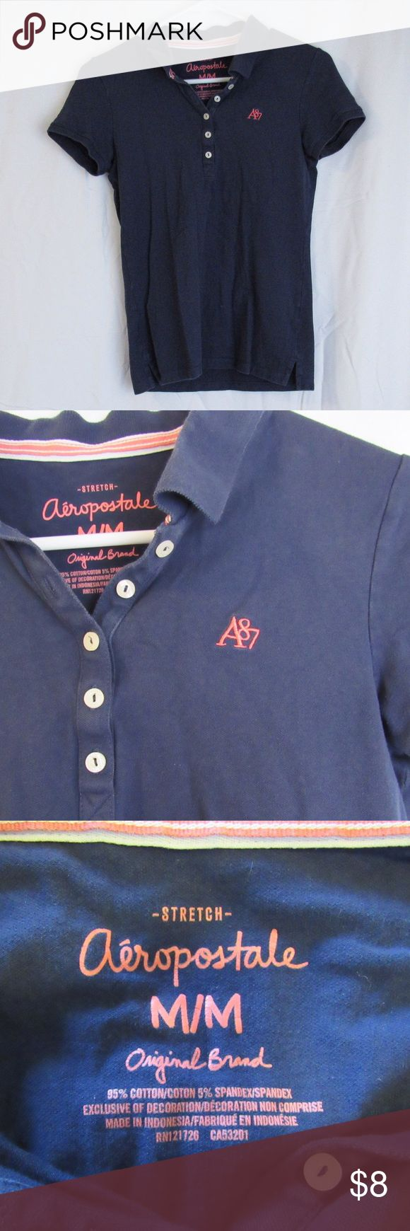 Navy Polo Collared Shirt Navy polo shirt from Aeropostale. Perfect for school uniforms or golfing! Smoke and pet free! (I have a couple more colors that I will be uploading soon. Comment if you are interested in the other colors too!) Aeropostale Tops
