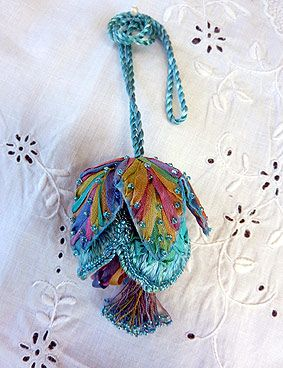 Catherine Howell Fritillary Kit - Evensong / Silk ribbon embroidered tassel. Silk ribbon embroidered tassel. Buttonhole & ribbon stitch, handmade cord, beaded stamen tassel with beads complete this tassel to adorn that drawer or dresser handle. Suitable for all skill levels. Approx size not including handle 8cmL x 5cmW - multi/aqua
