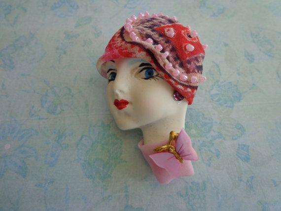 Vintage Lady's Head Art Deco Brooch by PipersEmporium on Etsy, $18.00