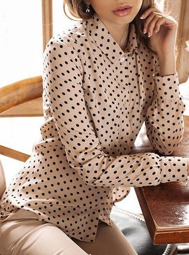 Button Down Front Collared Polka Dots Shirt