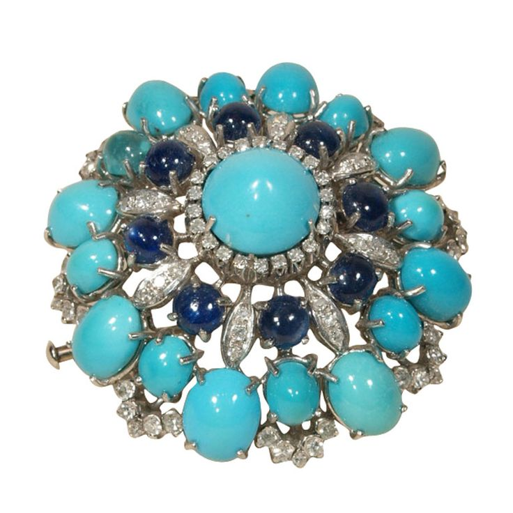 turquoise cabochon brooch