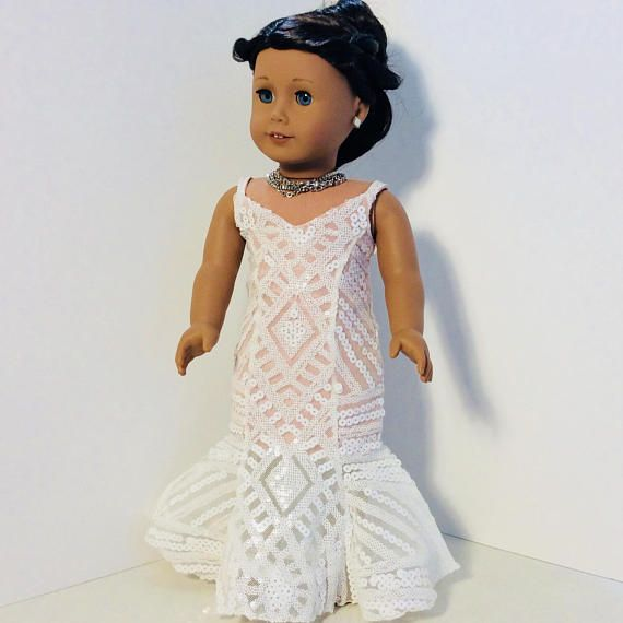 Handmade Mermaid Party Dress fits 18 American Girl Doll Clothes Prom Sparkly Dress Only