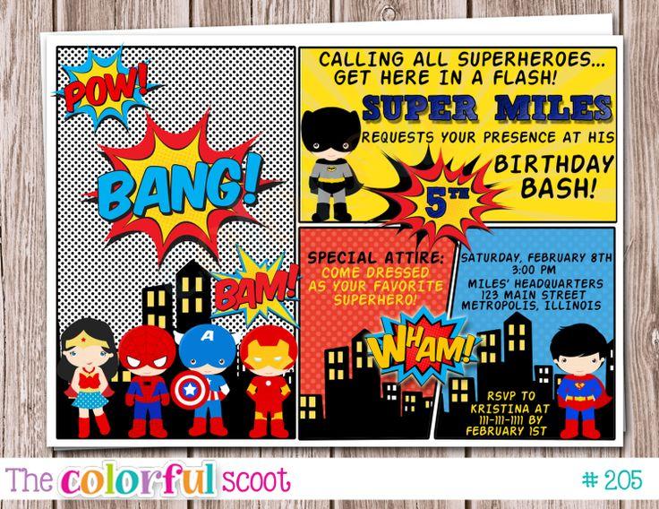 24 best Superhero Invitation Card images on Pinterest Superhero