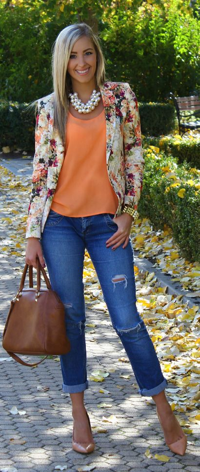 Floral Gold Orange Pink Brown Jeans Outfit