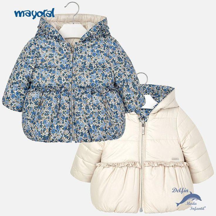 Chaquetón de bebe niña MAYORAL reversible flores azules
