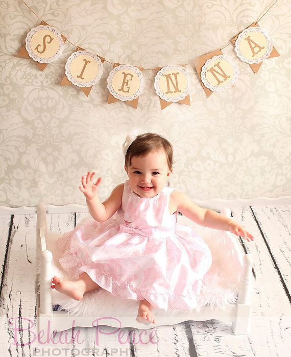 Custom Lace Doilie Name Banner Photo by SweetJellyParties on Etsy