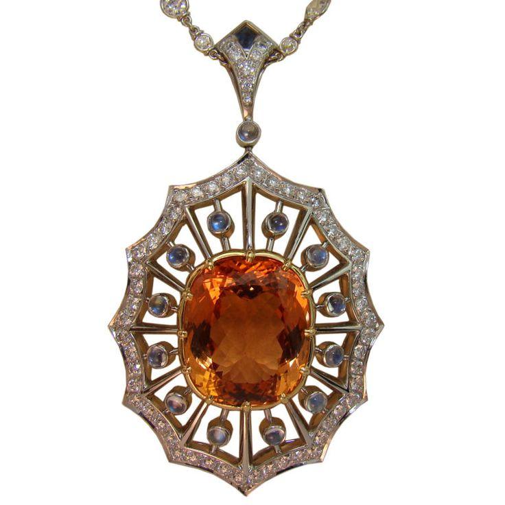 Imperial Topaz, Moonstone, & Diamond Pendant in Platinum