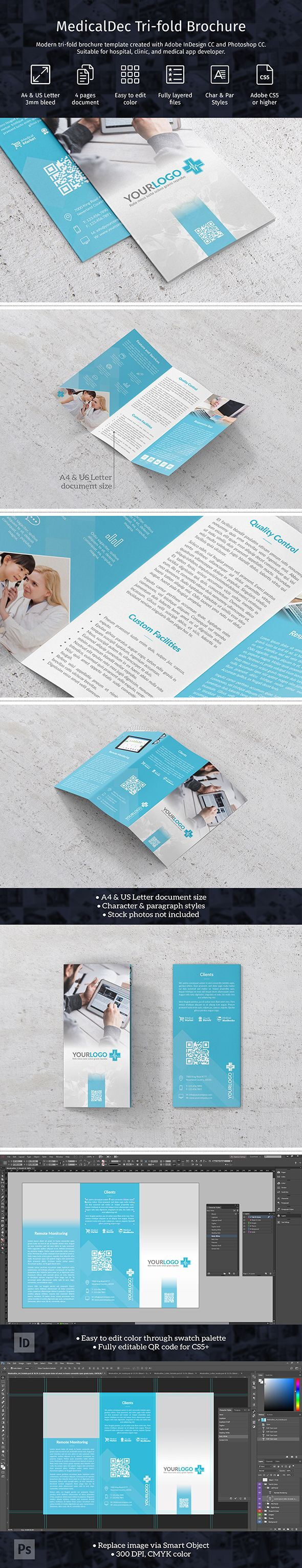 Modern tri-fold brochure template in A4 and US Letter size created with Adobe InDesign CC and Photoshop CC. Suitable for hospital, clinic, and medical app developer. Template comes in A4 and US Letter size with 3 mm bleed, character & paragraph styles, and fully editable logo.