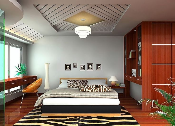 Simple Bedroom Ceiling Designs Made Of Gypsum With Crystal Chandelier