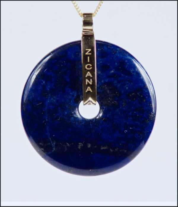 "Cala Pendant Blue Lapis gemstone 18-K yellow gold 10 round brilliant diamonds; 0.50 tcw Multi strand chain, 16""L"