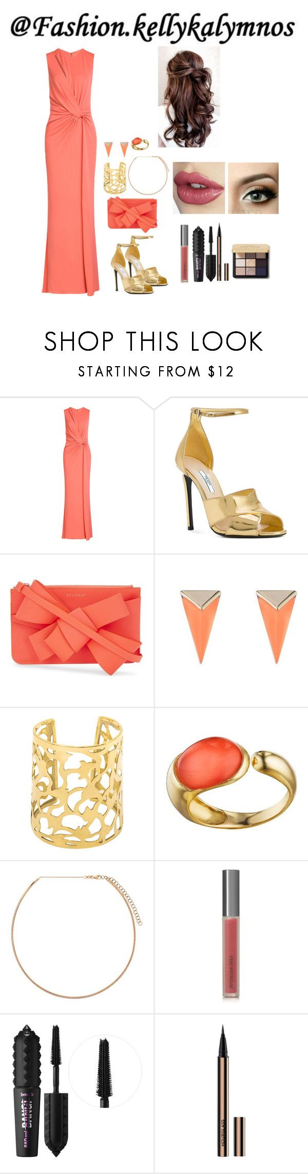 """Coral dress"" by fashion-kellykalymnos on Polyvore featuring Elie Saab, Prada, Delpozo, Alexis Bittar, Faraone Mennella by R.F.M.A.S., Diane Kordas, Perricone MD, Benefit and Bobbi Brown Cosmetics"