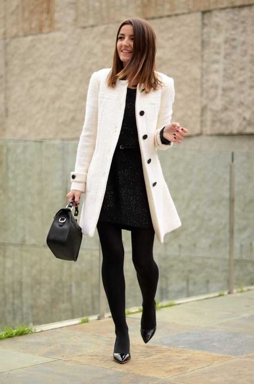 LBD, black pumps, white coat, tights, black bag, tights ☑️