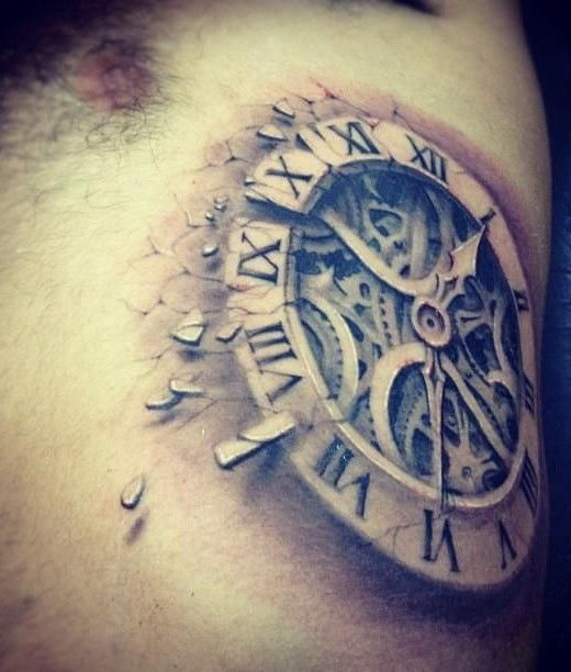 3D clock tattoo idea