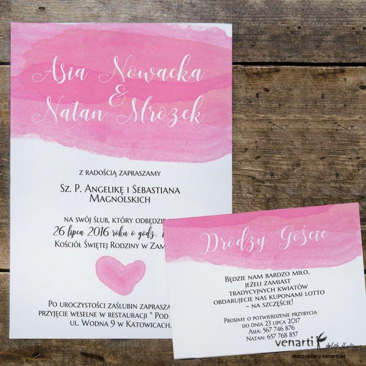 Zaproszenia ślubne Różowa akwarela (Kod: KP049) Zaproszenia papierowe Zaproszenia ślubne -Venarti - Sklep ślubny