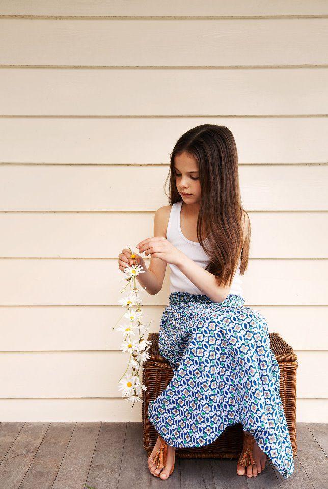 *Katherine loves this. Boho kids blue printed maxi skirt - scandinavian summer - kids fashion
