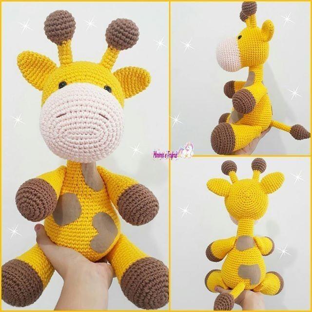 Giraffe baby rattle crochet pattern | Amigurumi de animais de ... | 640x640